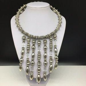 Chico's Silver Bib Statement Choker Necklace